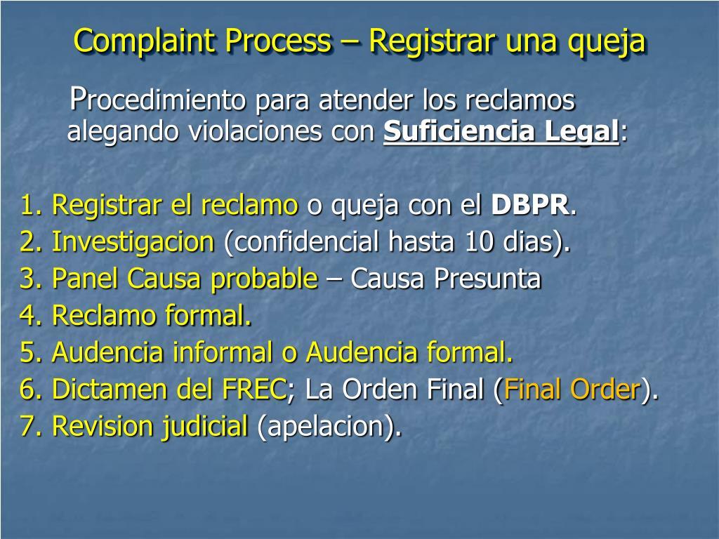 Complaint Process – Registrar una queja
