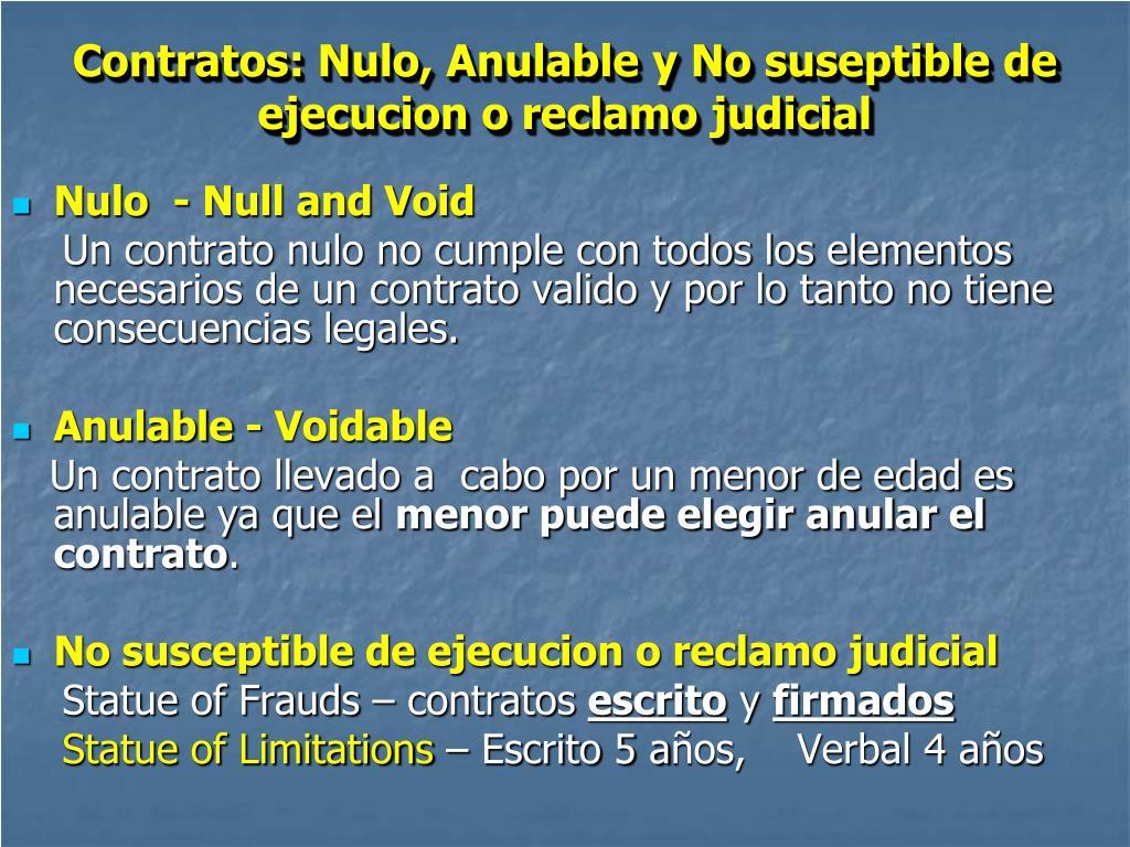 Contratos: Nulo, Anulable y No suseptible de ejecucion o reclamo judicial