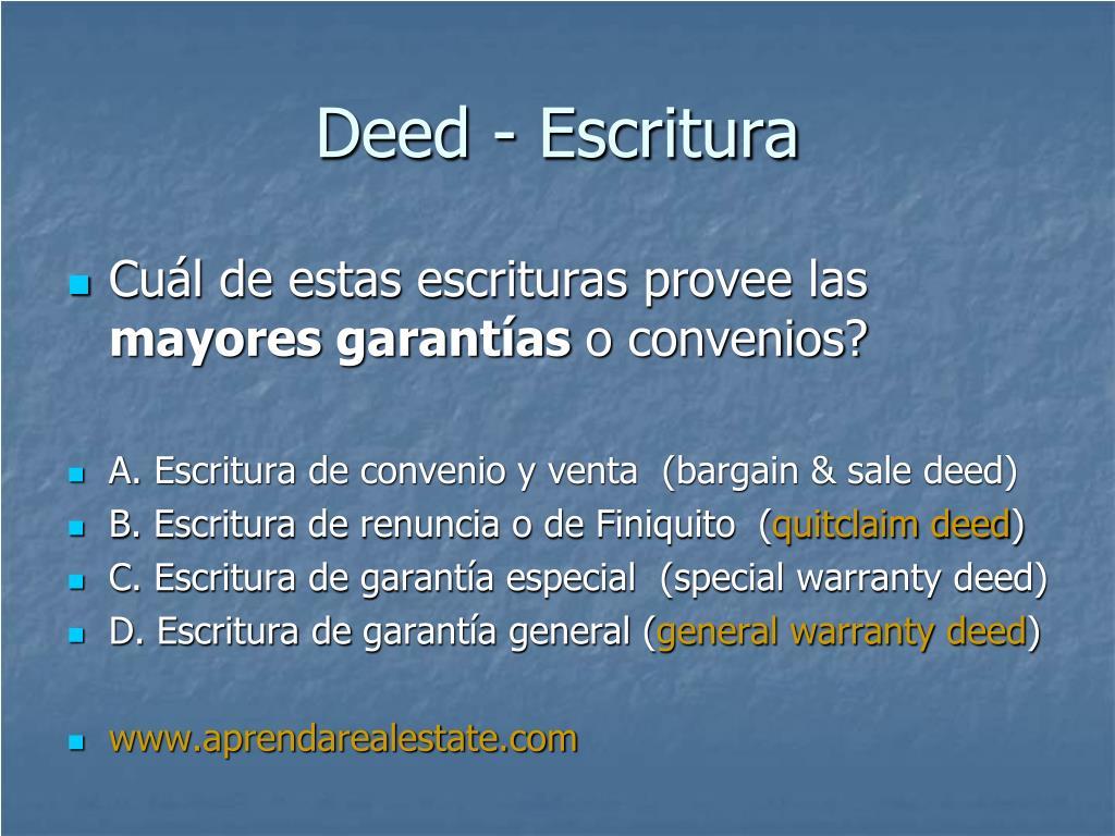 Deed - Escritura