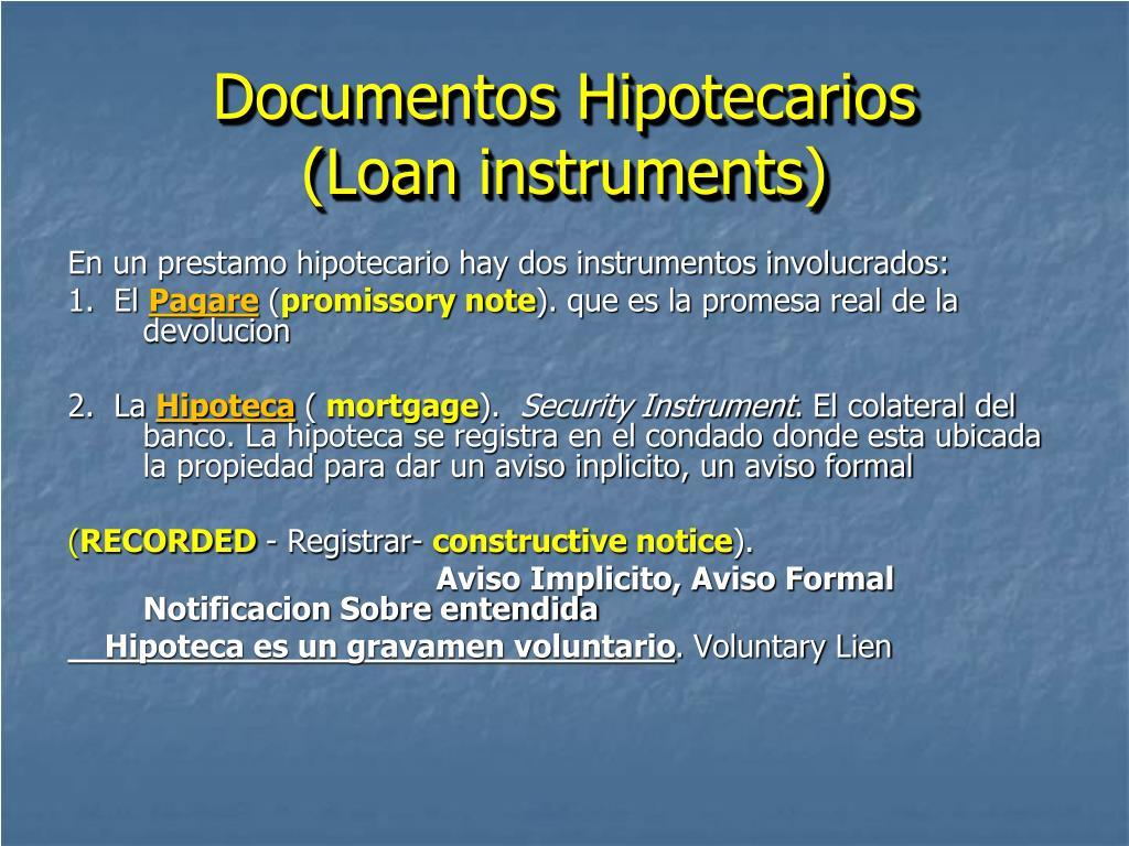 Documentos Hipotecarios