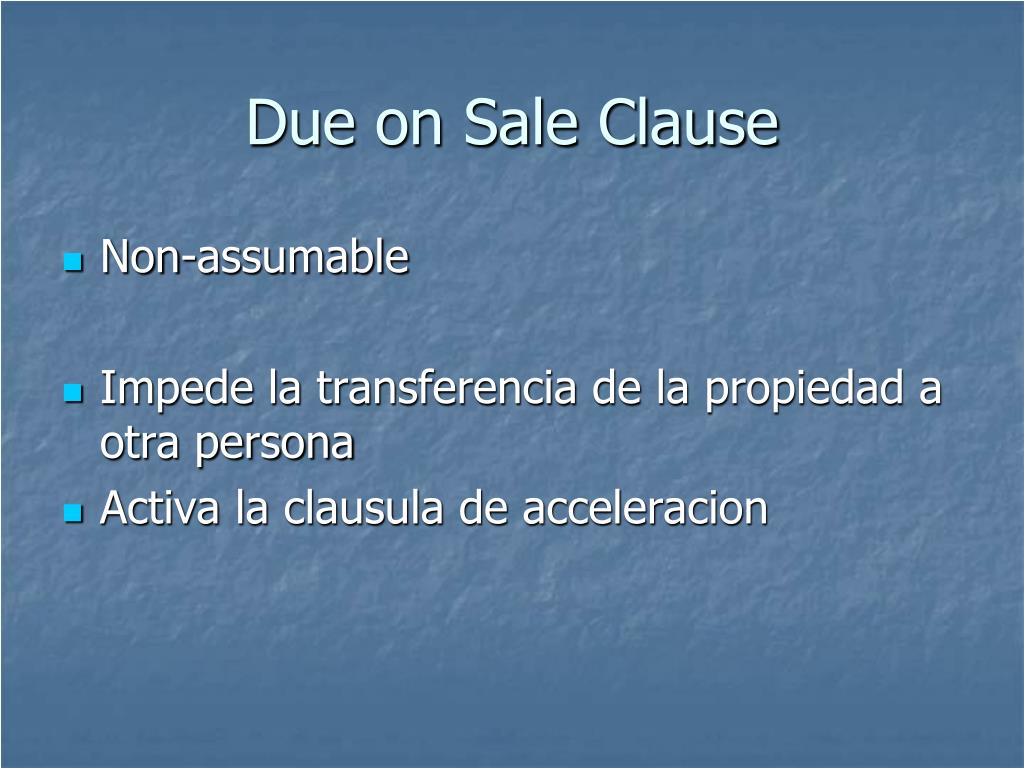 Due on Sale Clause