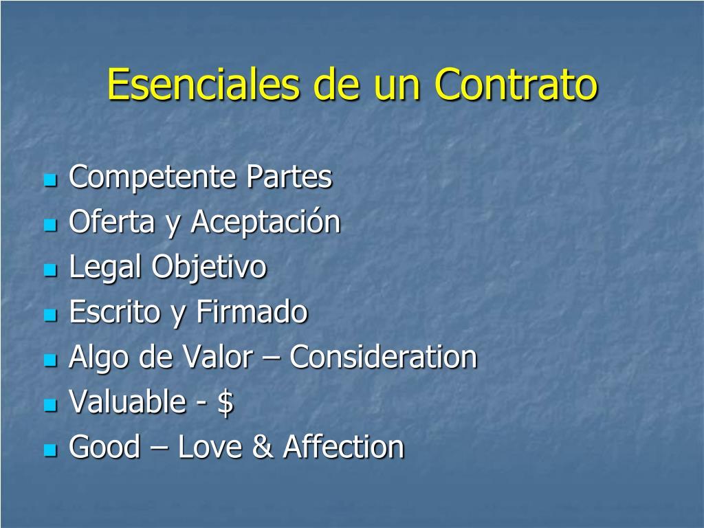 Esenciales de un Contrato