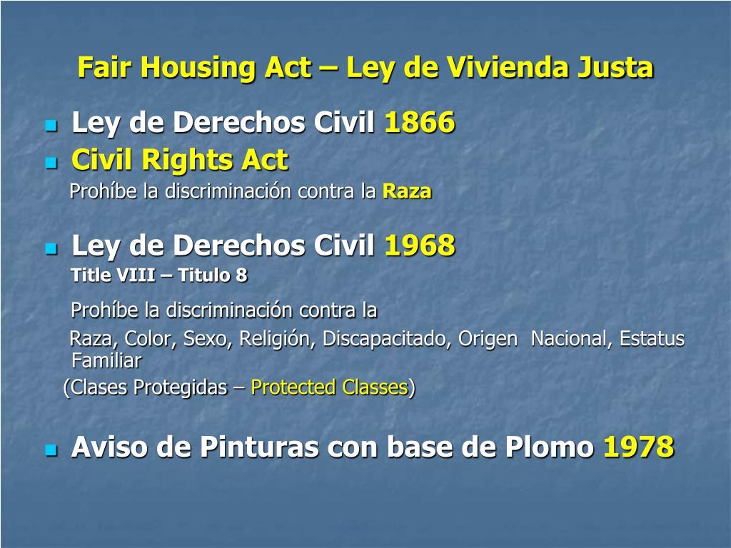 Fair Housing Act – Ley de Vivienda Justa