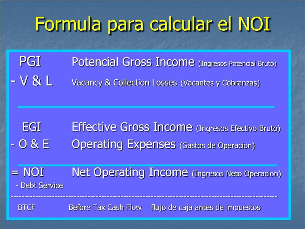 Formula para calcular el NOI