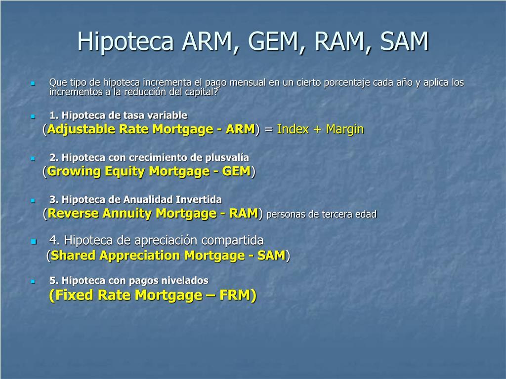 Hipoteca ARM, GEM, RAM, SAM
