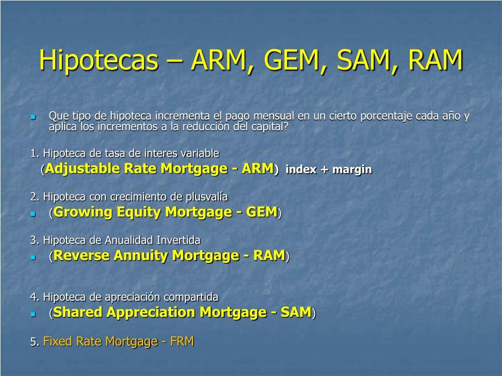 Hipotecas – ARM, GEM, SAM, RAM