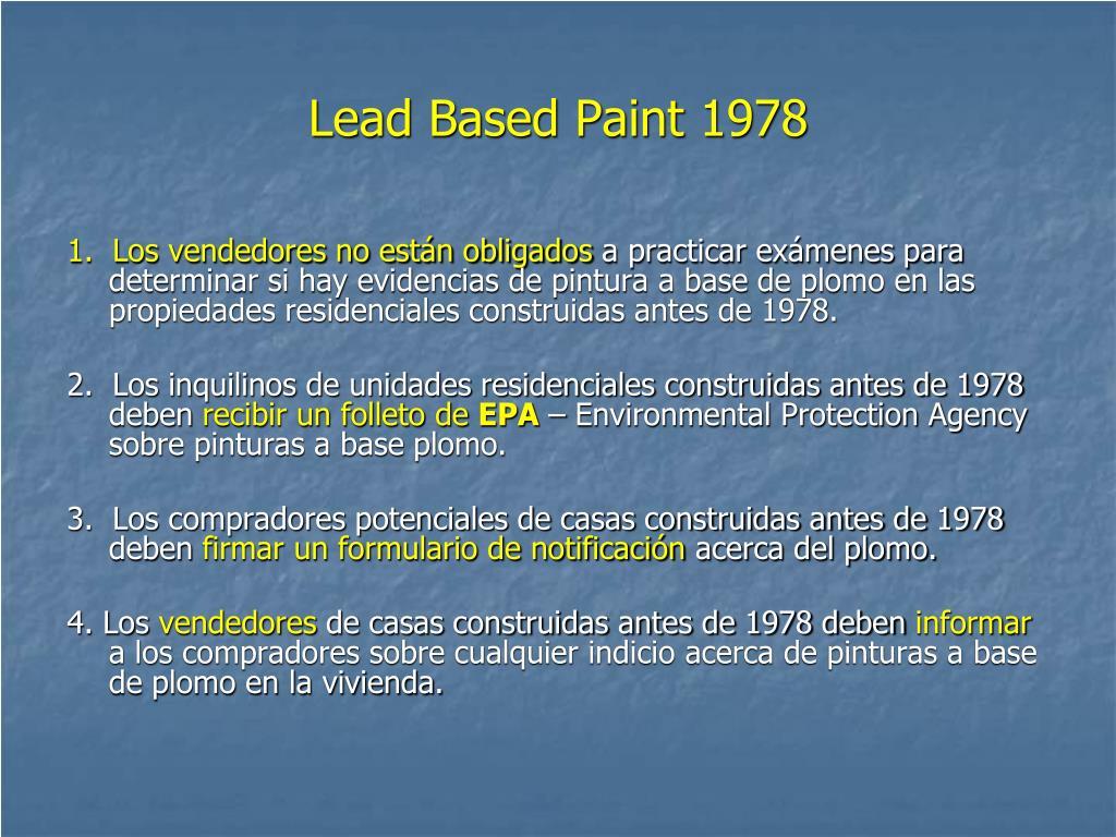 Lead Based Paint 1978