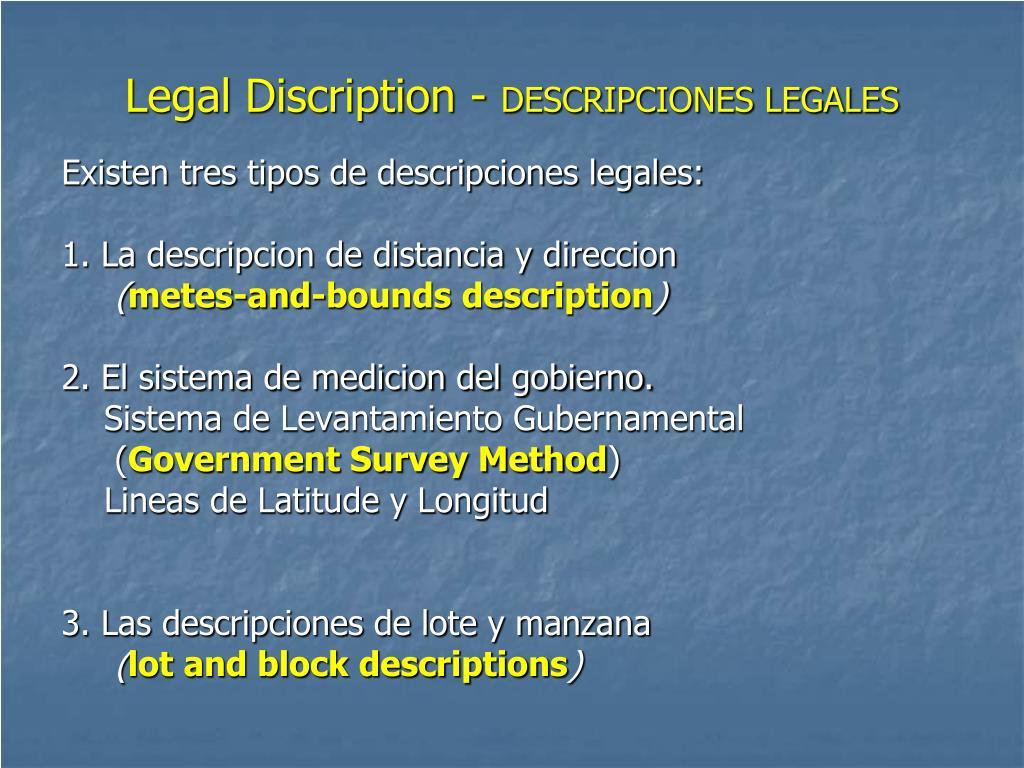 Legal Discription -