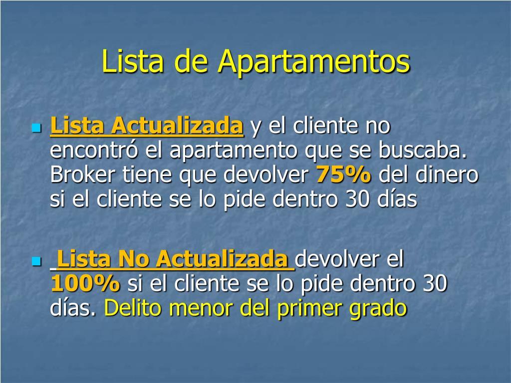 Lista de Apartamentos