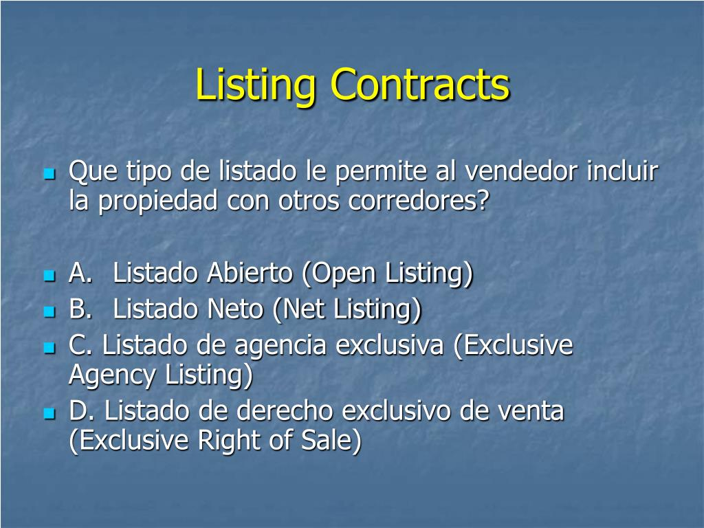 Listing Contracts