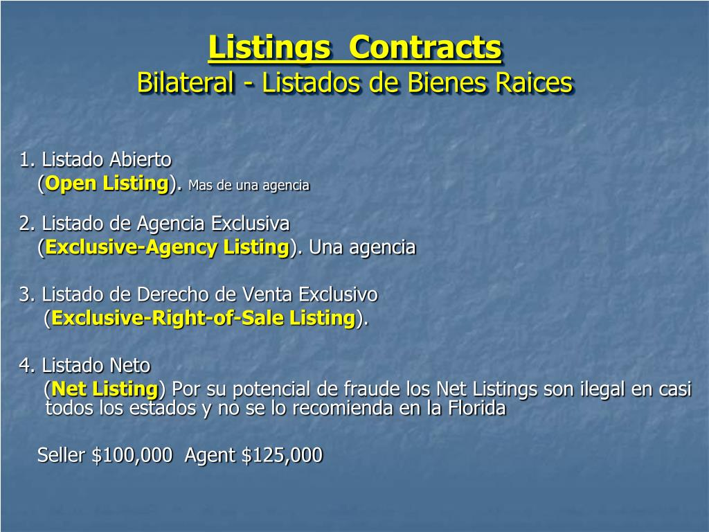 Listings  Contracts