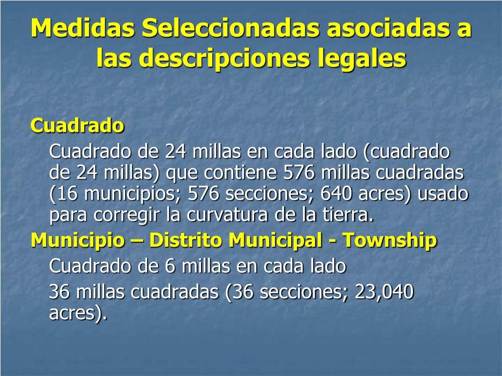 Medidas Seleccionadas asociadas a las descripciones legales