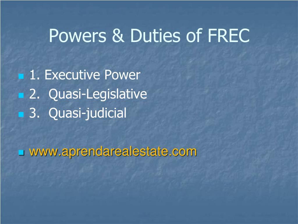 Powers & Duties of FREC