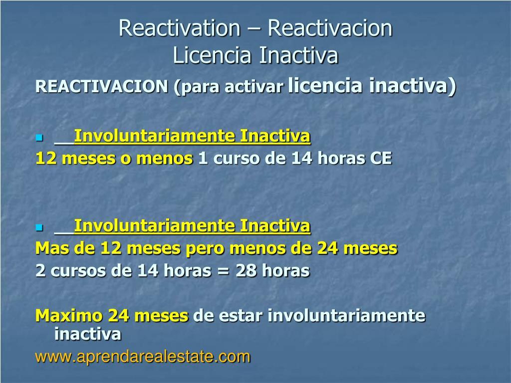 Reactivation – Reactivacion