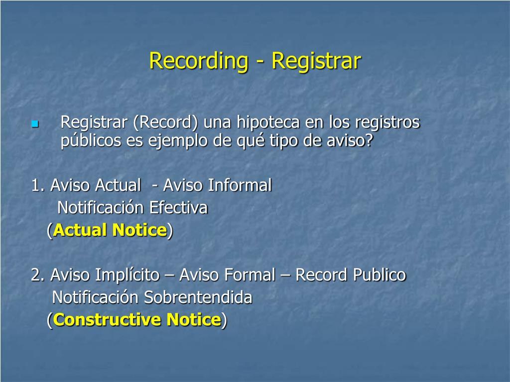Recording - Registrar