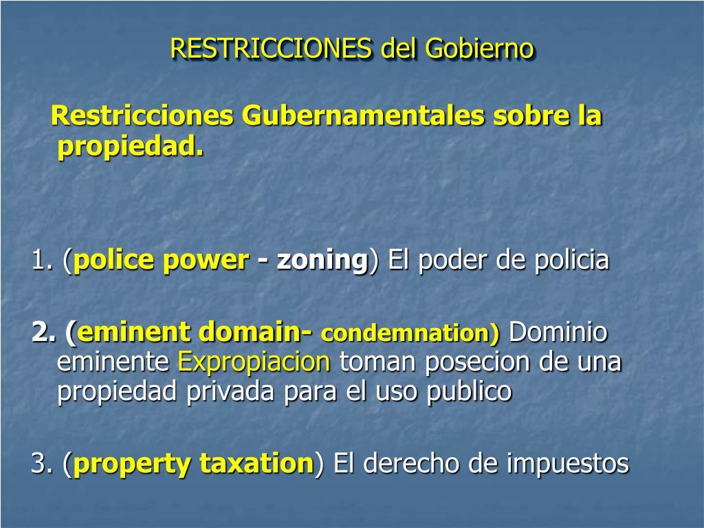 RESTRICCIONES del Gobierno