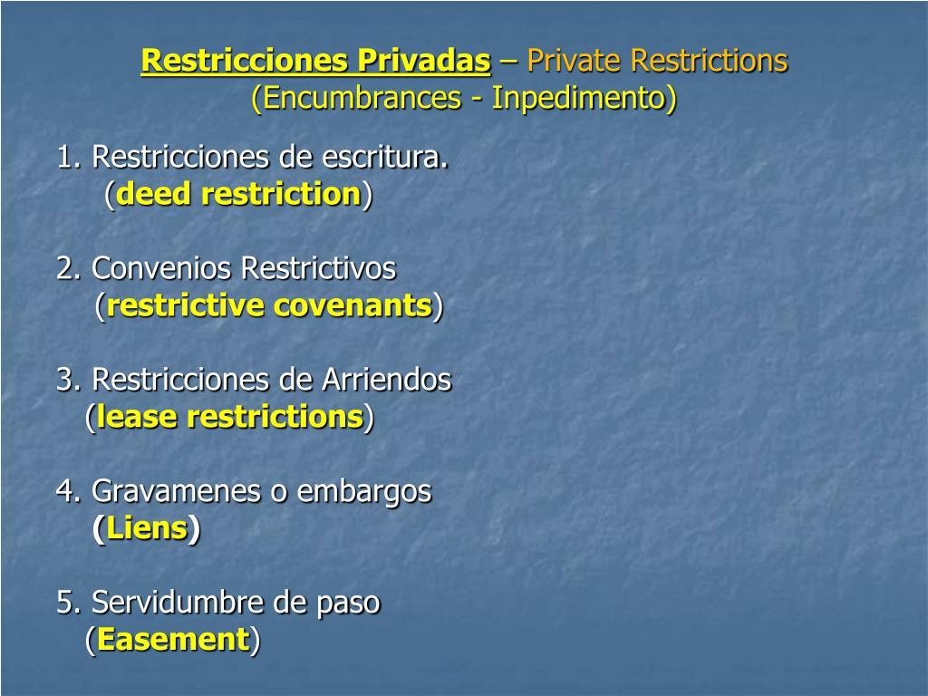 Restricciones Privadas
