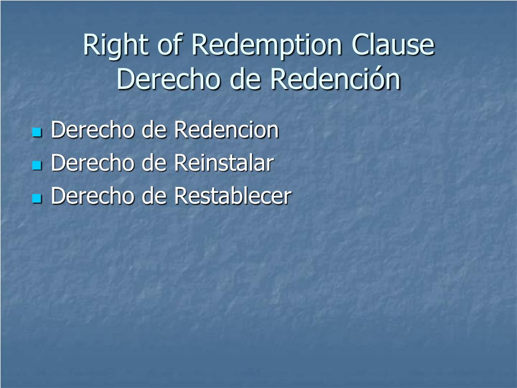 Right of Redemption Clause