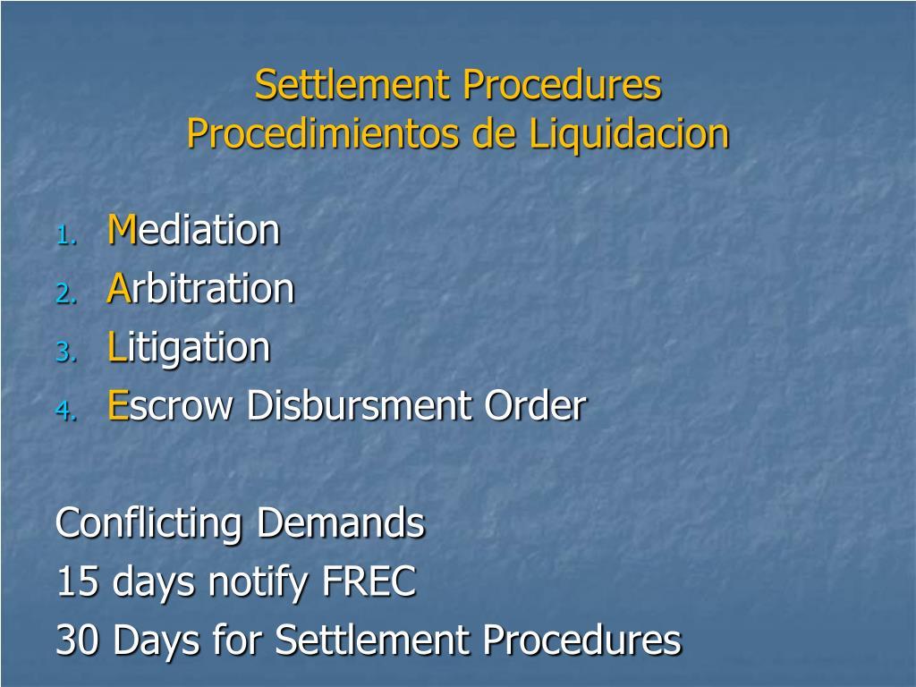 Settlement Procedures