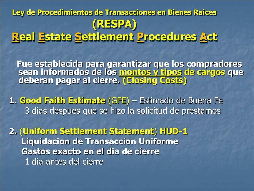 Ley de Procedimientos de Transacciones en Bienes Raices