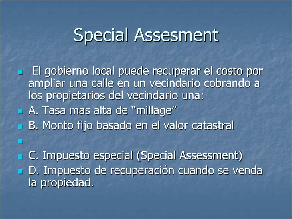Special Assesment