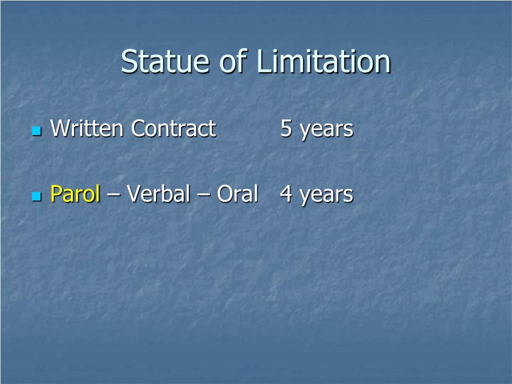 Statue of Limitation