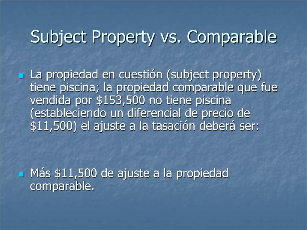 Subject Property vs. Comparable