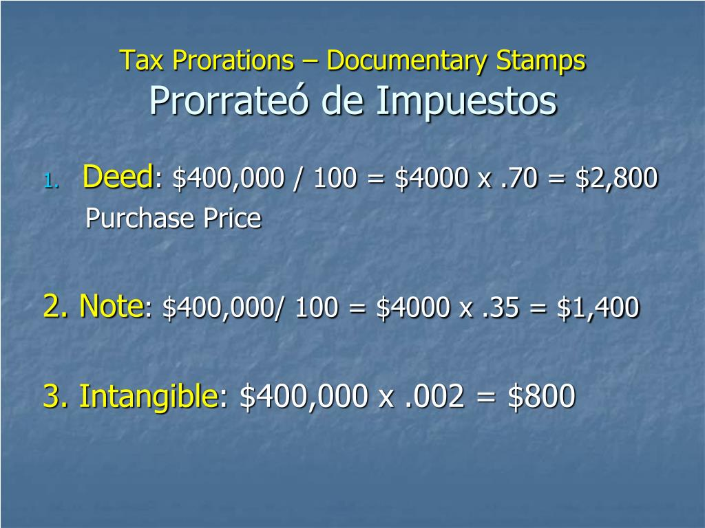 Tax Prorations – Documentary Stamps
