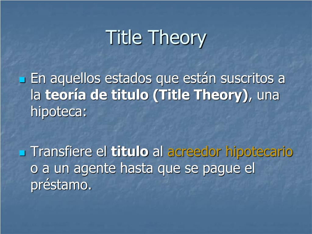 Title Theory