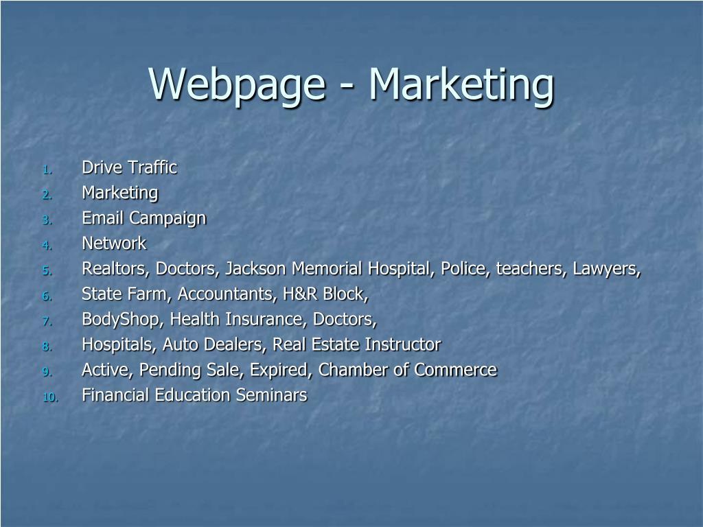 Webpage - Marketing