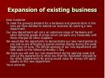 expansion of existing business