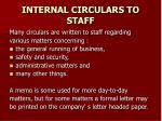 internal circulars to staff
