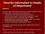 security information to heads of department