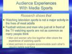 audience experiences with media sports