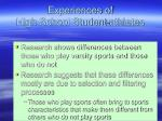 experiences of high school student athletes