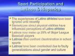 sport participation and latinos hispanics