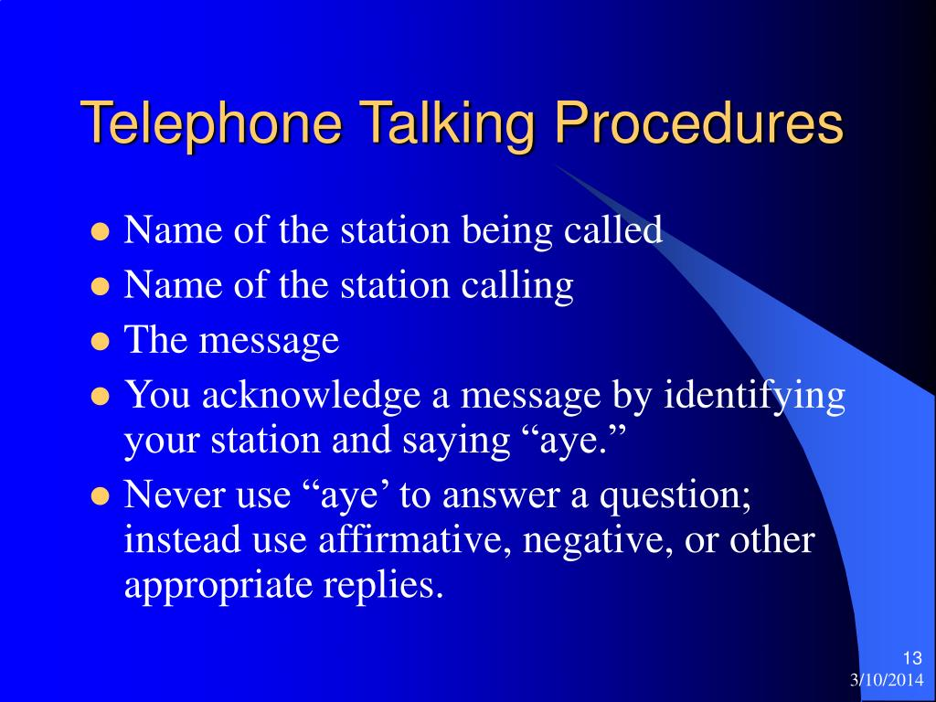 Telephone Talking Procedures
