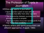 the profession of sports in journalism