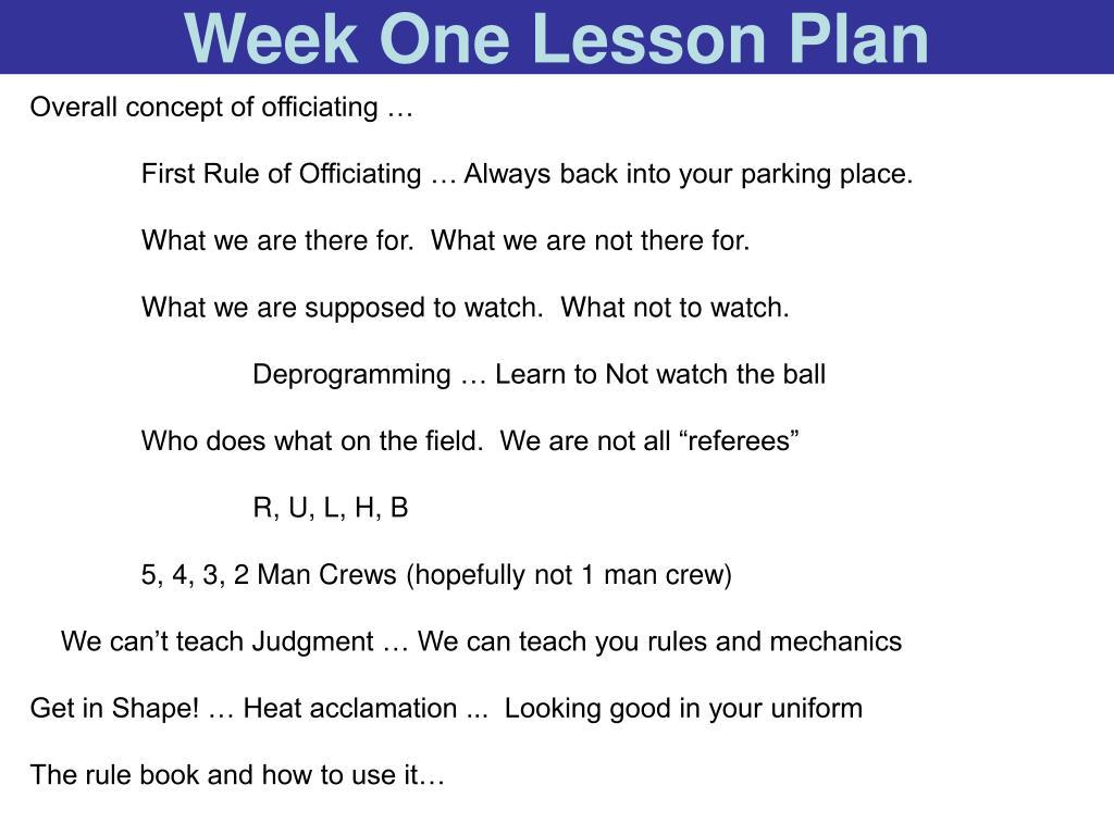 Week One Lesson Plan