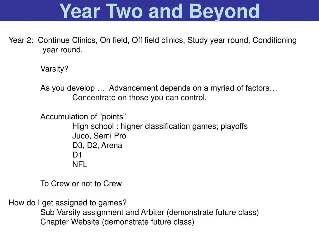 Year Two and Beyond