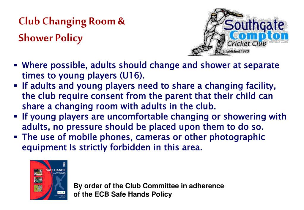 Club Changing Room & Shower Policy