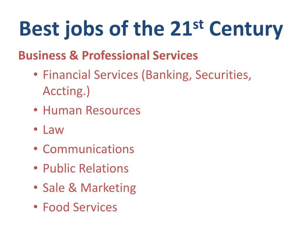 Best jobs of the 21
