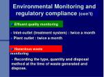environmental monitoring and regulatory compliance con t