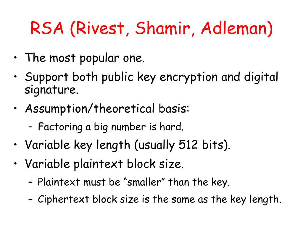 RSA (Rivest, Shamir, Adleman)