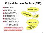 critical success factors csf
