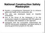 national construction safety masterplan