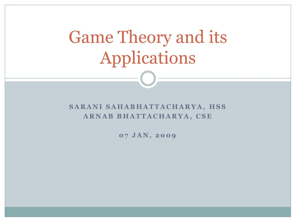 game theory and its applications l.
