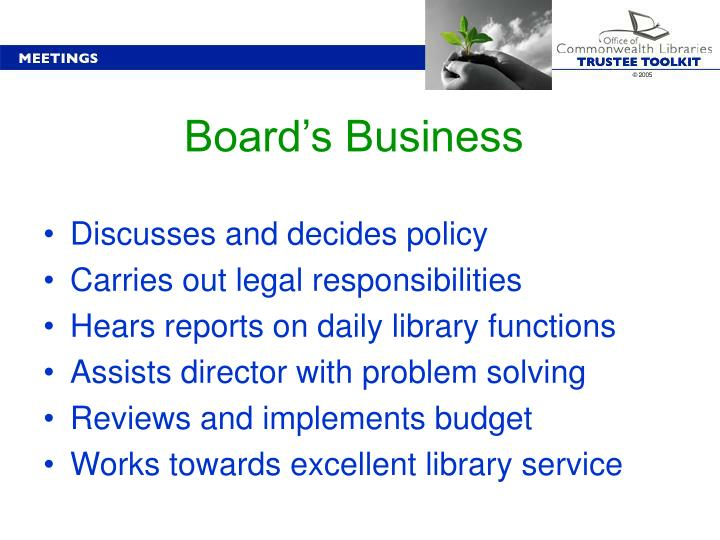 Board's Business
