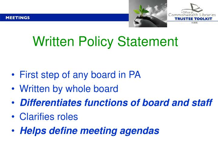 Written Policy Statement