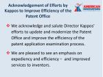 acknowledgement of efforts by kappos to improve efficiency of the patent office